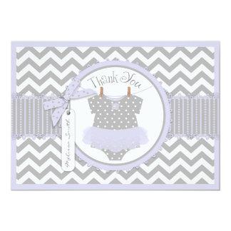 Baby Girl Tutu Chevron Print Thank You 5x7 Paper Invitation Card