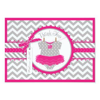 Baby Girl Tutu Chevron Print Thank You Card