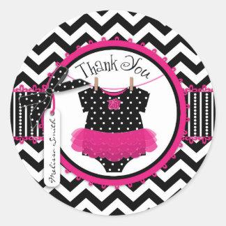 Baby Girl Tutu Chevron Print Thank You Classic Round Sticker