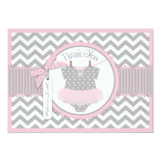 Baby Girl Tutu Chevron Print Thank You Custom Announcement