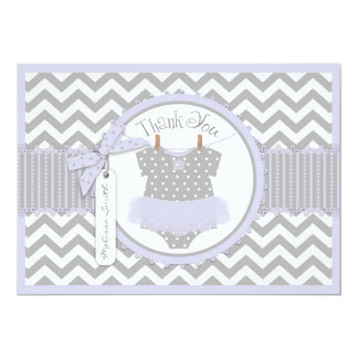 Baby Girl Tutu Chevron Print Thank You Personalized Announcement Cards