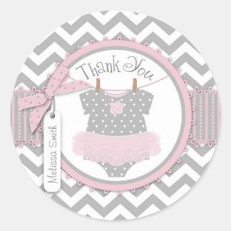 Baby Girl Tutu Chevron Print Thank You Label Round Stickers