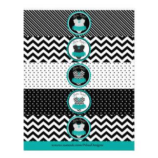 Baby Girl Tutu Mix Print Water Bottle Labels Flyer
