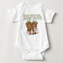 Baby Girl Twins Friends Bear bodysuit