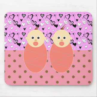 Baby Girl Twins Mother Pink Pattern Expecting Mouse Pads