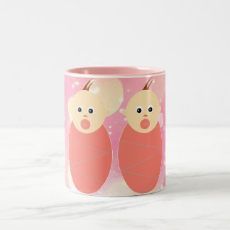 Baby Girl Twins Mother Pink Pattern Expecting Two-Tone Coffee Mug