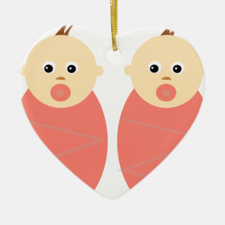 Baby Girl Twins Pink Shower Cute Pattern Double-Sided Heart Ceramic Christmas Ornament
