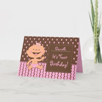 Baby Girl Wearing Pink Diaper Cute Birthday Card card