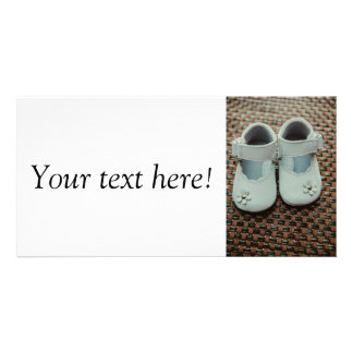 Baby girl white shoes photo greeting card
