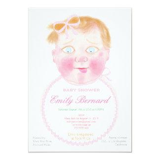 Baby girl with bib, Custom Baby Shower Invitation. Card