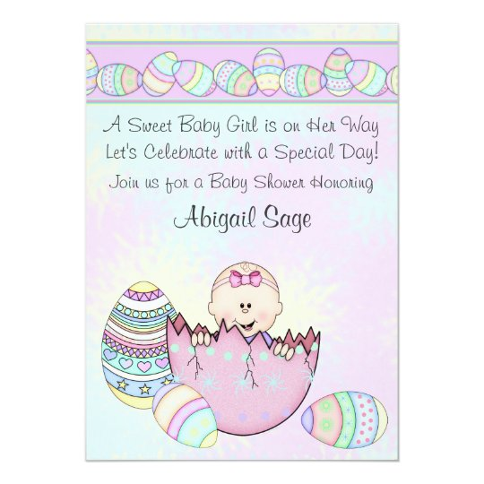 Baby With Easter Eggs Shower Invitation