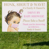 Baby Girl With Mask Drive By Baby Shower Sign