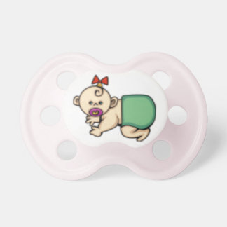 baby girl with pacifiers and diaper cartoon