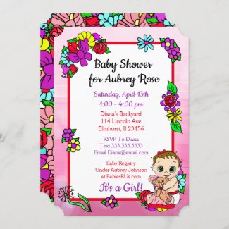 Baby Girl with Teddy Bear Pink Baby Shower Invitation