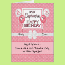 Baby Girl's 1st Birthday Capricorn Zodiac Card