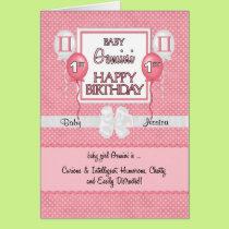 Baby Girl's 1st Birthday Gemini Zodiac Card