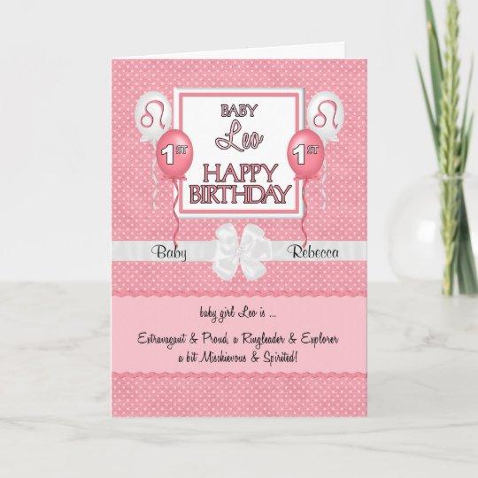 Baby Girls 1st Birthday Leo Zodiac Card Zazzle