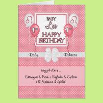 Baby Girl's 1st Birthday Leo Zodiac Card