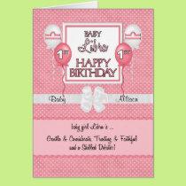 Baby Girl's 1st Birthday Libra Zodiac Card
