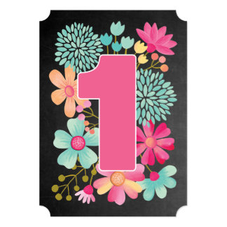 Baby Girls 1st Birthday Number 1 Party Invite