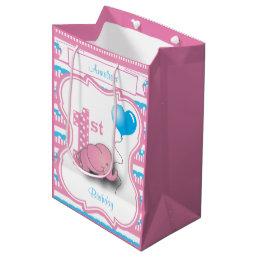 Baby Girl's 1st Birthday Party Medium Gift Bag