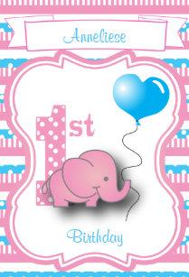 Baby Girls 1st Birthday Party Medium Gift Bag