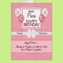 Baby Girl's 1st Birthday Pisces Zodiac Card