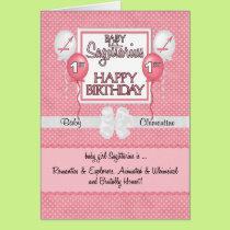 Baby Girl's 1st Birthday Sagittarius Zodiac Card