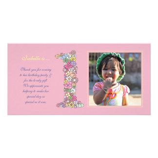 Baby Girls 1st Birthday Thank You Photo Card
