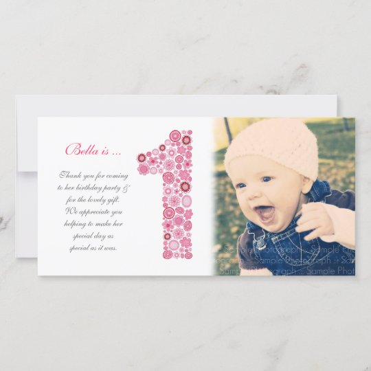 Baby Girls 1st Birthday Thank You Photo Card Zazzle