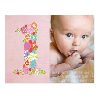 Baby Girl's 1st Birthday Thank You Photo Card