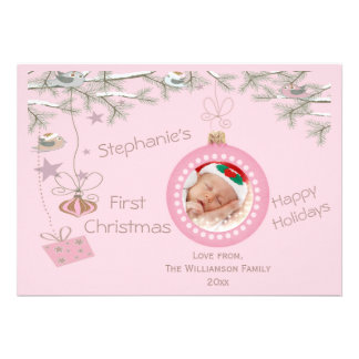 Baby Girls 1st Christmas Pink Holiday Photo Card