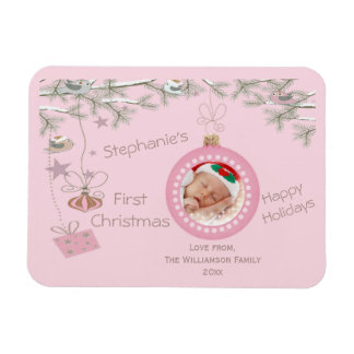 Baby Girls 1st Christmas Pink Holiday Photo Magnets