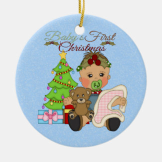 Baby Girl's 1st Christmas Round Ornament