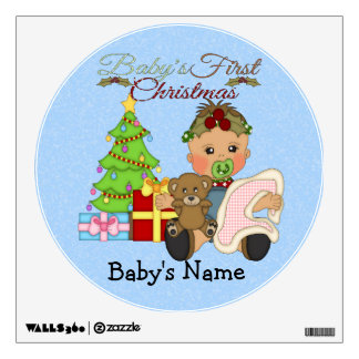 Baby Girl's 1st Christmas Round Wall Decal