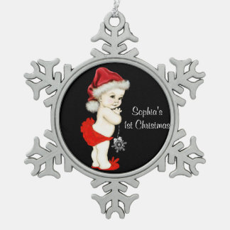 Baby Girls 1st Christmas Snowflake Pewter Christmas Ornament