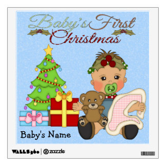 Baby Girl's 1st Christmas Square Wall Decal