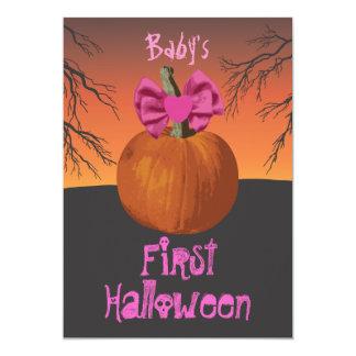 Baby Girls 1st Halloween Party Invites
