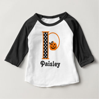 Baby Girls 1st Halloween shirt Pumpkin Initial p