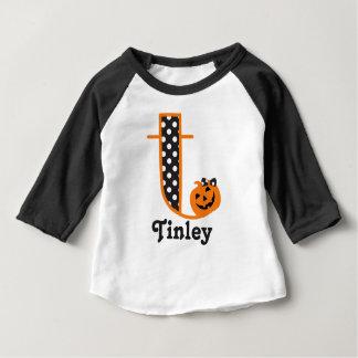 Baby Girls 1st Halloween shirt Pumpkin Initial t