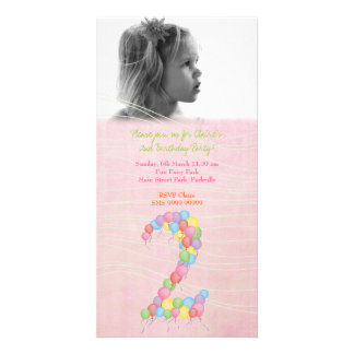 Baby Girls 2nd Birthday Party Photo Card Invite