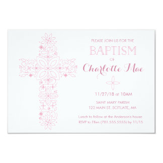Baby Girl's Baptism, Christening Invitation Card