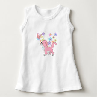 Baby Girls Butterfly Flowers Pink Cat Dress