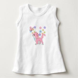 Baby Girls Butterfly Flowers Pink Cat Dress