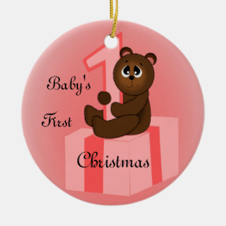Baby Girls First Christmas Ceramic Ornament