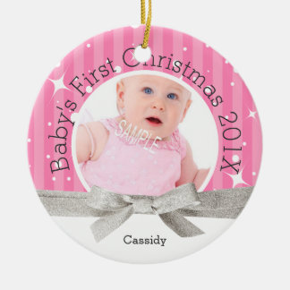 Baby Girl's First Christmas Ceramic Ornament