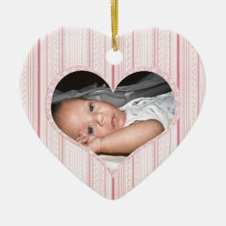 Baby Girl's First Christmas - Heart & Pink Stripes Ceramic Ornament