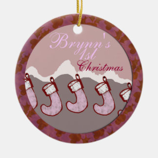 Baby Girl's First Christmas Double-Sided Ceramic Round Christmas Ornament