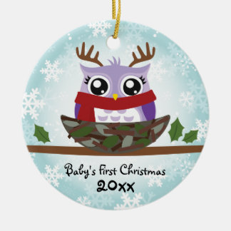 Baby Girl's First Christmas Owl Ornament