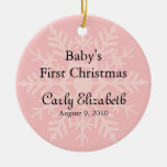 Baby Girl's First Christmas - Pink Snowflake Ornaments
